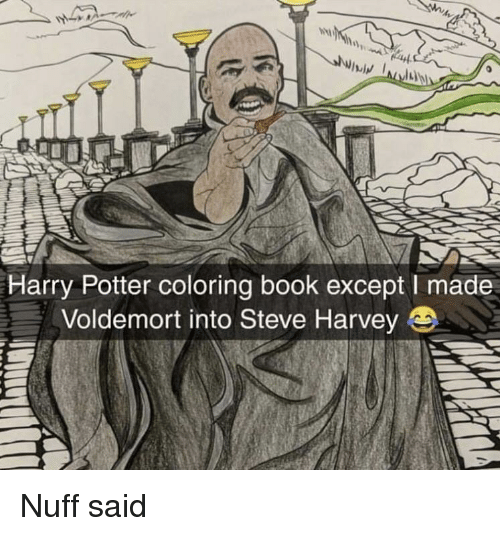 Harry Potter, Steve Harvey, and Book: Harry Potter coloring book except I made  Voldemort into Steve Harvey Nuff said