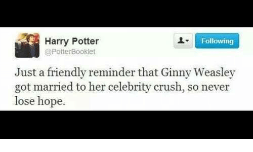 Crush, Friends, and Harry Potter: Harry Potter  Following  @PotterBooklet  Just a friendly reminder that Ginny Weasley  got married to her celebrity crush, so never  lose hope.