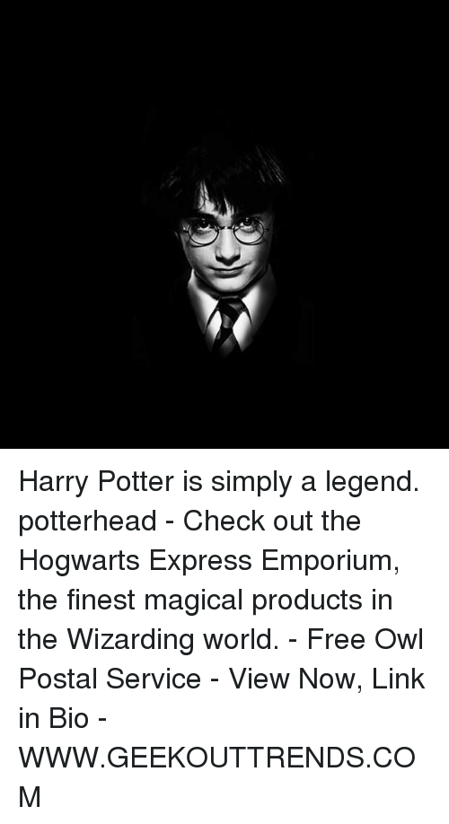 Harry Potter, Memes, and Express: Harry Potter is simply a legend. potterhead - Check out the Hogwarts Express Emporium, the finest magical products in the Wizarding world. - Free Owl Postal Service - View Now, Link in Bio - WWW.GEEKOUTTRENDS.COM