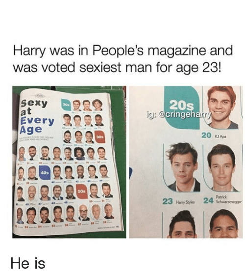Memes, Sexy, and 🤖: Harry was in People's magazine and  was voted sexiest man for age 23!  sexy  at  Every  Age  20s  cringeh  20s  ig:  20 KJApa  30s  40s  50s  Patrick  23 Hary Stydes 24  2222202 He is