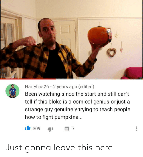 Reddit, Genius, and How To: Harryhas26 • 2 years ago (edited)  Been watching since the start and still can't  tell if this bloke is a comical genius or just a  strange guy genuinely trying to teach people  how to fight pumpkins...  309 Just gonna leave this here