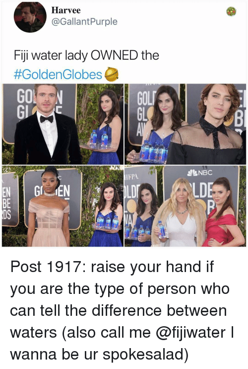 Memes, Fiji, and Water: Harvee  @GallantPurple  Fiji water lady OWNED the  #GoldenGlobes  GOL  GL  NBC  HFPA  LD  BE  DS Post 1917: raise your hand if you are the type of person who can tell the difference between waters (also call me @fijiwater I wanna be ur spokesalad)