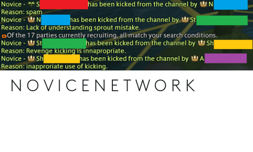 Has Been Kicked From the Channel by N Novice S Reason Spam Has Been