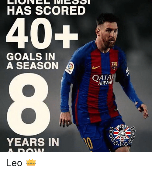 Memes, 🤖, and Leo: HAS SCORED  40+  GOALS IN  A SEASON  YEARS IN  AIRWAY  OCCER Leo 👑