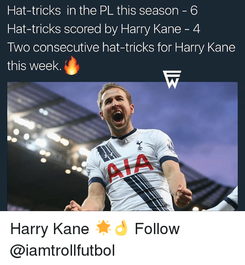 Memes, 🤖, and Kane: Hat-tricks in the PL this season 6  Hat-tricks scored by Harry Kane 4  Two consecutive hat-tricks for Harry Kane  this week Harry Kane 🌟👌 Follow @iamtrollfutbol
