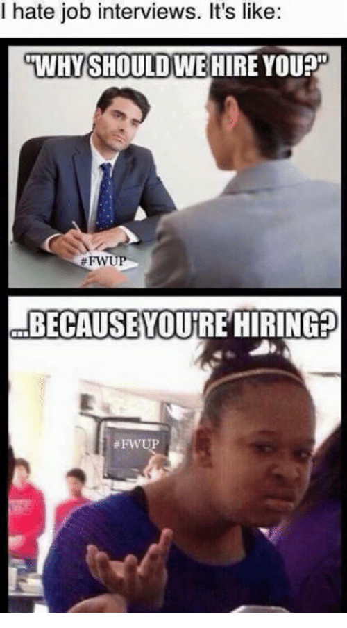 Good Job Interview, Memes, And Jobs: Hate Job Interviews. Itu0027s Like: WHY  Why Should I Hire You