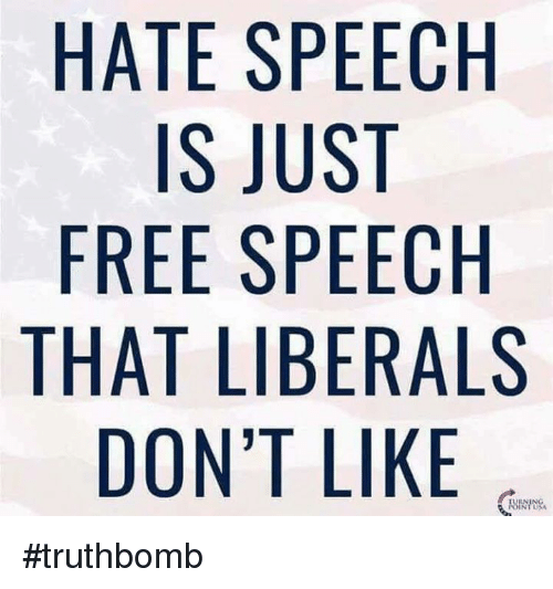 Image result for Liberal hate free speech
