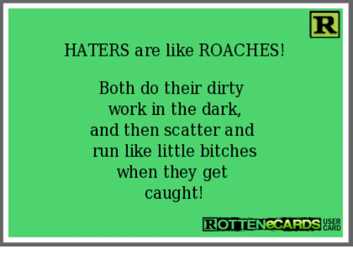 Memes, Run, and Work: HATERS are like ROACHES!  Both do their dirty  work in the dark,  and then scatter and  run like little bitches  when they get  caught!  ROTTENeCARDS  ど潟