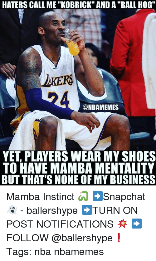 """Nba, Shoes, and Business: HATERS CALL ME """"KOBRICK"""" AND A """"BALL HOG""""  AKERS  @NBAMEMES  YET, PLAYERS WEAR MY SHOES  TO HAVE MAMBA MENTALITY  BUT THAT'S NONE OF MY BUSINESS Mamba Instinct 🐍 ➡Snapchat 👻 - ballershype ➡TURN ON POST NOTIFICATIONS 💥 ➡ FOLLOW @ballershype❗ Tags: nba nbamemes"""