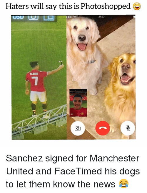 Dogs, News, and Soccer: Haters will say this is Photoshopped  21:23  ALEXIS Sanchez signed for Manchester United and FaceTimed his dogs to let them know the news 😂
