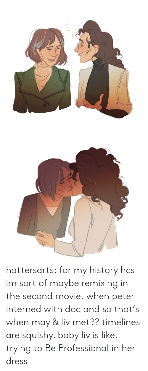 Tumblr, Blog, and Dress: hattersarts:    for my history hcs im sort of maybe remixing in the second movie, when peter interned with doc and so that's when may & liv met?? timelines are squishy. baby liv is like, trying to Be Professional in her dress