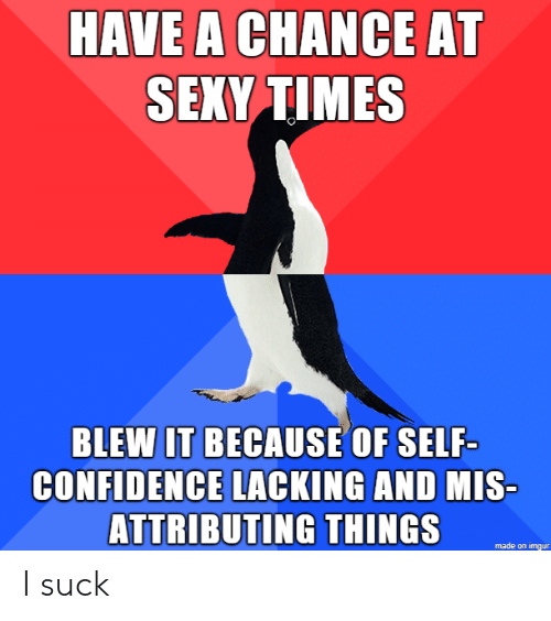 Confidence, Sexy, and Imgur: HAVE A CHANCE AT  SEXY TIMES  BLEWIT BECAUSE OF SELF-  CONFIDENCE LACKING AND  MIS  ATTRIBUTING THINGS  made on imgur I suck