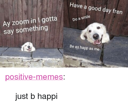 "Memes, Tumblr, and Zoom: Have a good day fren  Ay zoom in I gotta  say something  Do a smile  Be as happ as me <p><a href=""https://positive-memes.tumblr.com/post/170304683930/just-b-happi"" class=""tumblr_blog"">positive-memes</a>:</p>  <blockquote><p>just b happi</p></blockquote>"
