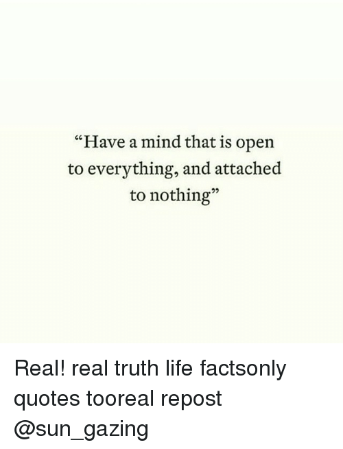 The Truth Of Life Quotes Gorgeous Have A Mind That Is Open To Everything And Attached To Nothing