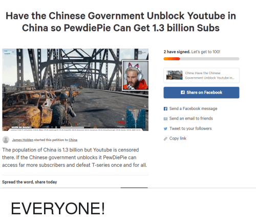 Have the Chinese Government Unblock Youtube in China So