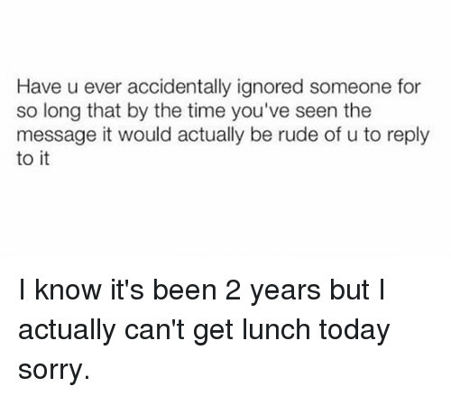 Rude, Sorry, and Time: Have u ever accidentally ignored someone for  so long that by the time you've seen the  message it would actually be rude of u to reply  to it I know it's been 2 years but I actually can't get lunch today sorry.