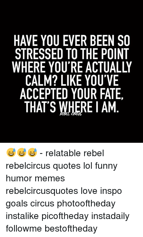 Funny, Goals, and Lol: HAVE YOU EVER BEEN SO  STRESSED TO THE POINT  CALM? LIKE YOU'VE  ACCEPTED YOUR FATE.  THAT'S WHERE AM 😅😅😅 - relatable rebel rebelcircus quotes lol funny humor memes rebelcircusquotes love inspo goals circus photooftheday instalike picoftheday instadaily followme bestoftheday