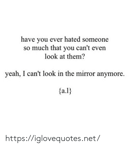 Yeah, Mirror, and Net: have you ever hated someone  so much that you can't even  look at them?  yeah, I can't look in the mirror anymore. https://iglovequotes.net/