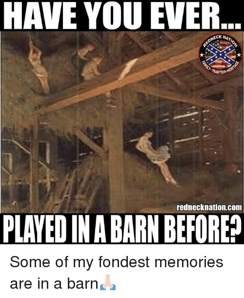 Memes, 🤖, and Com: HAVE YOU EVER  NECK NAT  RADITION  rednecknation.com  PLAYED IN A BARN BEFORE? Some of my fondest memories are in a barn🙏🏻