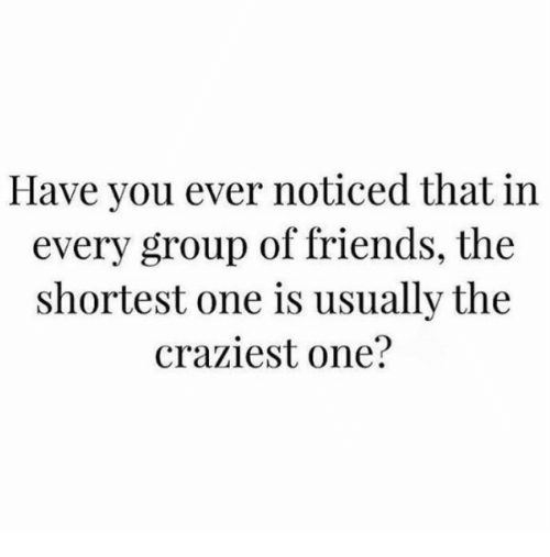 Friends, One, and Group: Have you ever noticed that in  every group of friends, the  shortest one is usually the  craziest one?