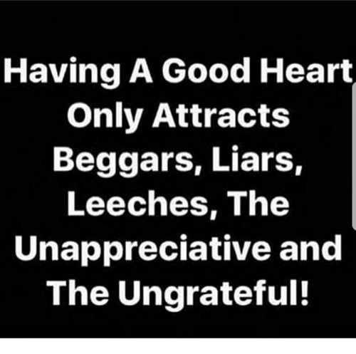 Memes, Good, and Heart: Having A Good Heart  Only Attracts  Beggars, Liars,  Leeches, The  Unappreciative and  The Ungrateful