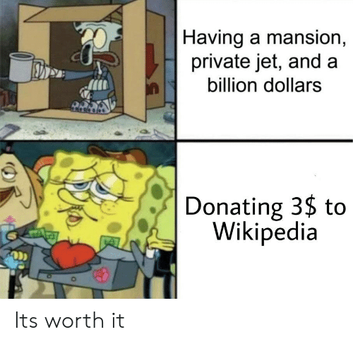 Wikipedia, Private, and Jet: |Having a mansion,  private jet, and a  billion dollars  Donating 3$ to  Wikipedia Its worth it