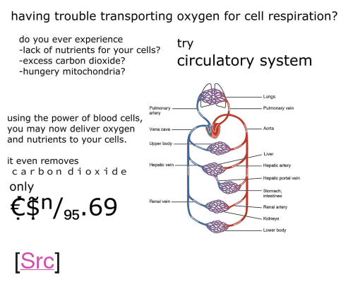 "Reddit, Oxygen, and Portal: having trouble transporting oxygen for cell respiration?  do you ever experience  -lack of nutrients for your cells?  -excess carbon dioxide?  -hungery mitochondria?  circulatory system  Lungs  Pulmonary  artery  Pulmonary vein  using the power of blood cells, ""*n  you may now deliver oxygen a cava  and nutrients to your cells  Aorta  Upper body  Liver  Hepatic artery  Hepatic portal vein  it even removes  Hepatic vein  carbon diox ide  only  Stomach  intestines  $/95.69  Renal vein  Renal artery  Kidneys  Lower body <p>[<a href=""https://www.reddit.com/r/surrealmemes/comments/7ikeov/%EF%BD%83%EF%BD%89%EF%BD%92%EF%BD%83%EF%BD%95%EF%BD%8C%EF%BD%81%EF%BD%94%EF%BD%89%EF%BD%8F%EF%BD%8E/"">Src</a>]</p>"