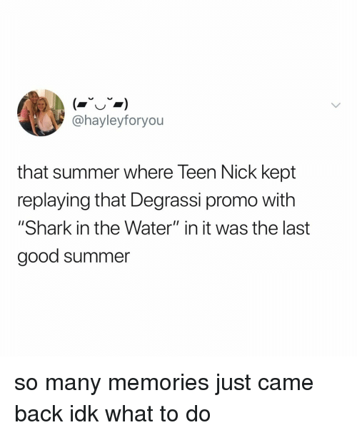 """Shark, Summer, and Degrassi: @hayleyforyou  that summer where Teen Nick kept  replaying that Degrassi promo with  """"Shark in the Water"""" in it was the last  good summer so many memories just came back idk what to do"""
