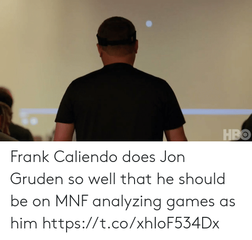 Hbo, Sports, and Games: HBO Frank Caliendo does Jon Gruden so well that he should be on MNF analyzing games as him https://t.co/xhIoF534Dx
