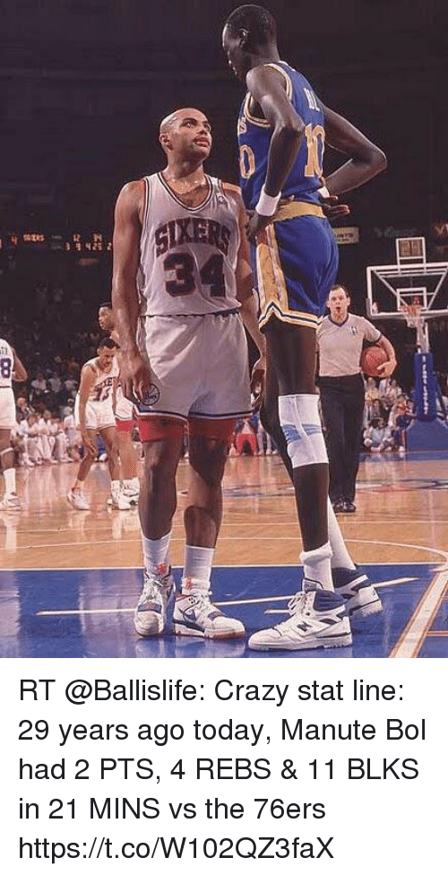 HE 21 RT Crazy Stat Line 29 Years Ago Today Manute Bol Had 2 PTS 4 ... a8f1b46d8