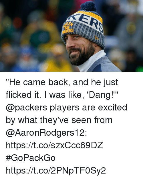 """Memes, Packers, and Back: """"He came back, and he just flicked it. I was like, 'Dang!'""""  @packers players are excited by what they've seen from @AaronRodgers12: https://t.co/szxCcc69DZ #GoPackGo https://t.co/2PNpTF0Sy2"""
