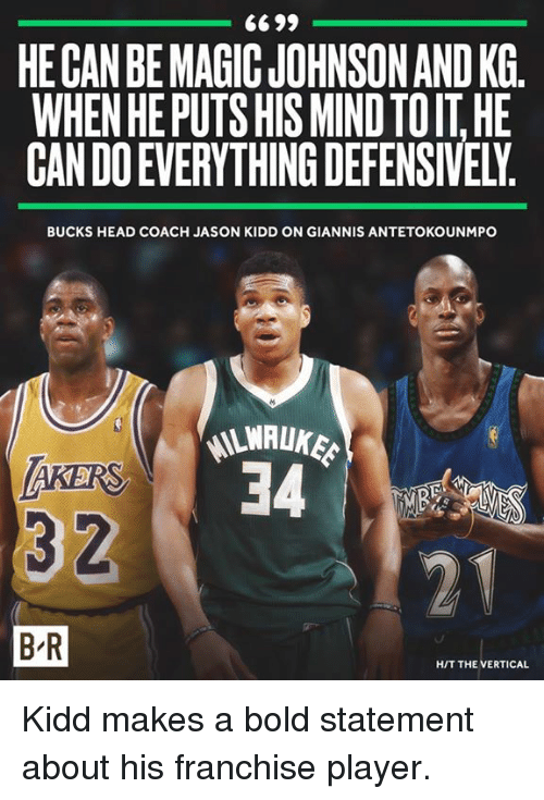 Head, Magic Johnson, and Magic: HE CAN BE MAGIC JOHNSON AND KG.  WHEN HE PUTS HIS MIND TOIT HE  CAN DO EVERYTHING DEFENSIVELY  BUCKS HEAD COACH JASON KIDD ON GIANNIS ANTETOKOUNMPO  LWALUKE  AKERS  3 2  B-R  HIT THE VERTICAL Kidd makes a bold statement about his franchise player.