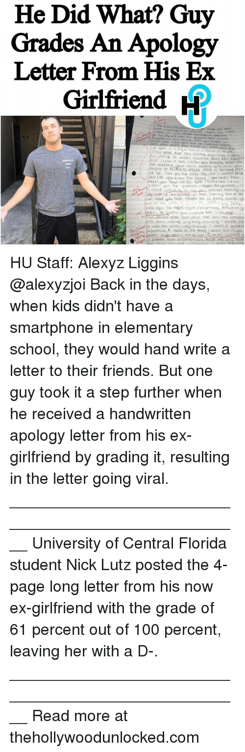 He Did What Guy Grades an Apology Letter From His Ex Girlfriend R