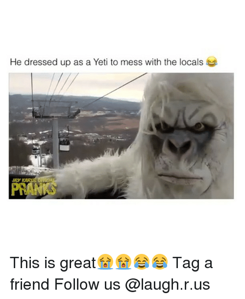 he dressed up as a yeti to mess with the 12978639 ✅ 25 best memes about yeti yeti memes