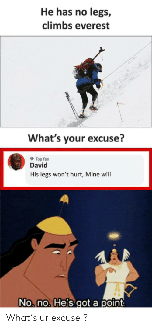 Got, Everest, and Mine: He has no legs,  climbs everest  What's your excuse?  O Top fan  David  His legs won't hurt, Mine will  No, no. He's got a point What's ur excuse ?