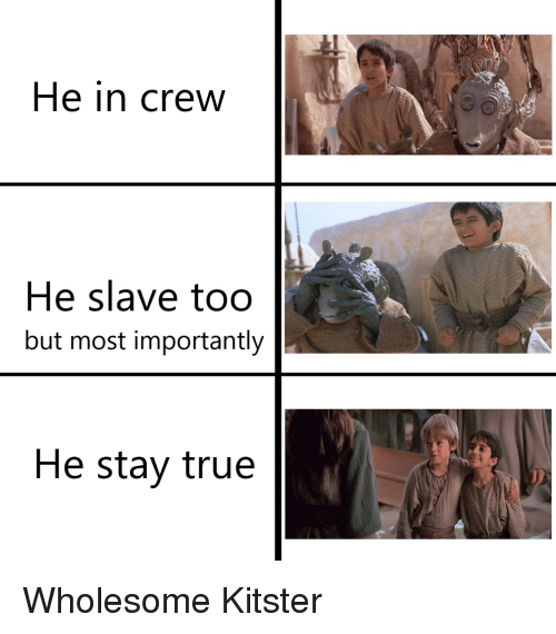 True, Wholesome, and Crew: He in crew  He slave too  but most importantly  He stay true
