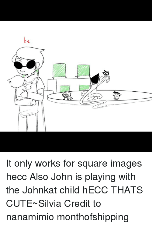 Memes, Image, and Images: he It only works for square images hecc Also John is playing with the Johnkat child hECC THATS CUTE~Silvia Credit to nanamimio monthofshipping