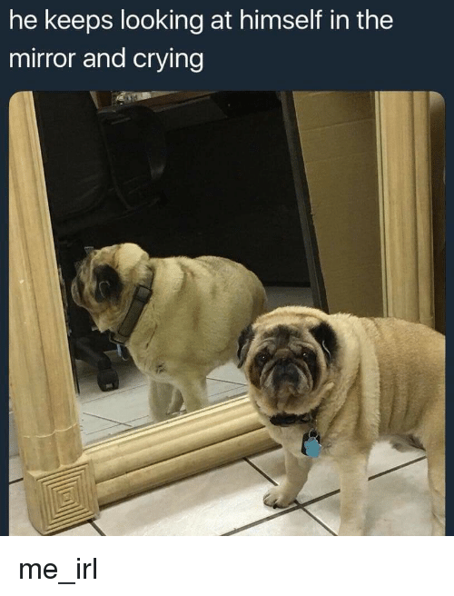 Crying, Mirror, and Irl: he keeps looking at himself in the  mirror and crying