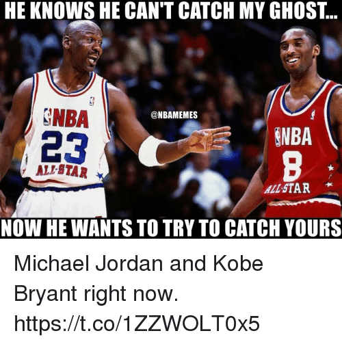 Ali, All Star, and Kobe Bryant: HE KNOWS HE CAN'T CATCH MY GHOSI..  NBA  23  @NBAMEMES  NBA  , ALI STAR  ALL-STAR  NOW HE WANTS TO TRY TO CATCH YOURS Michael Jordan and Kobe Bryant right now. https://t.co/1ZZWOLT0x5