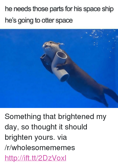 """Http, Space, and Thought: he needs those parts for his space ship  he's going to otter space <p>Something that brightened my day, so thought it should brighten yours. via /r/wholesomememes <a href=""""http://ift.tt/2DzVoxl"""">http://ift.tt/2DzVoxl</a></p>"""