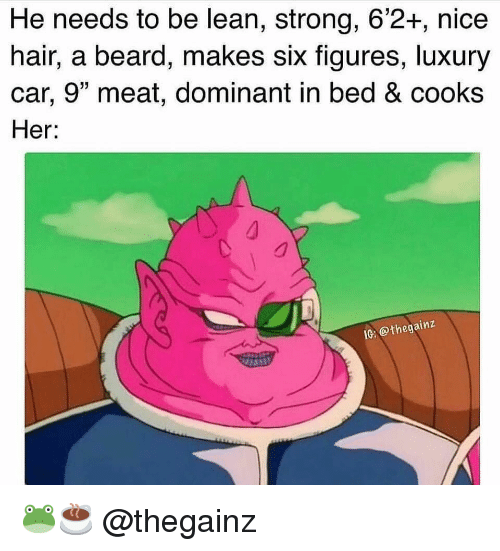 """Beard, Gym, and Lean: He needs to be lean, strong, 6'2+, nice  hair, a beard, makes six figures, luxury  car, 9"""" meat, dominant in bed & cooks  Her:  inz  IG @thegai 🐸☕️ @thegainz"""
