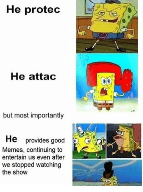 Memes, Good, and Show: He protec  He attac  but most importantly  provides good  Memes, continuing to  entertain us even after  we stopped watching  the show