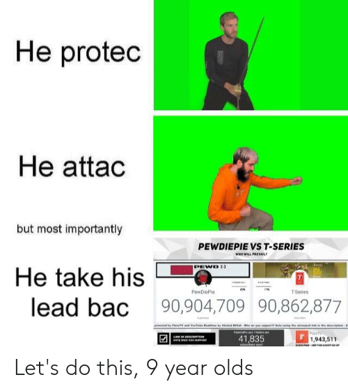 Lead, Series, and T Series: He proted  He attad  but most importantly  PEWDIEPIE VS T-SERIES  PEWD  He take his  PewDiePle  T-Series  lead bac 90,904,709 90,862,877  41,835  1,943,511 Let's do this, 9 year olds