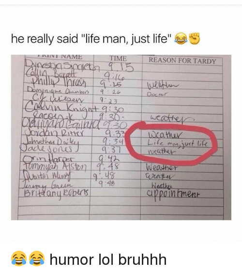 """Doctor, Life, and Lol: he really said """"life man, just life  S  I NAME  TIME REASON FOR TARDY  Doctor  weather  48  appan ment  Brittany 😂😂 humor lol bruhhh"""