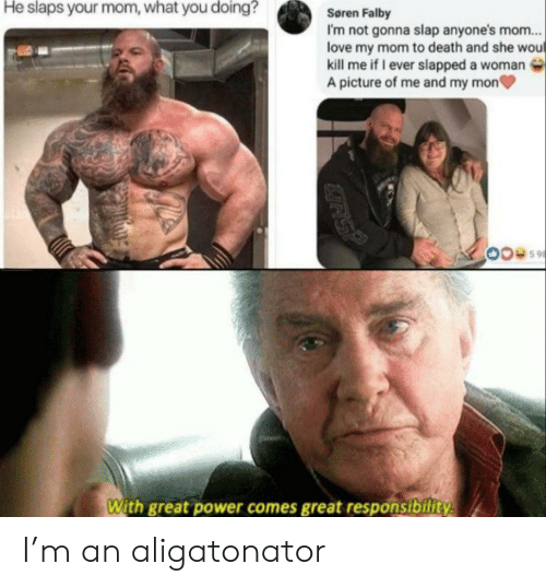 Love, Death, and Power: He slaps your mom, what you doing?  Søren Falby  I'm not gonna slap anyone's mom...  love my mom to death and she wou  kill me if I ever slapped a woman  A picture of me and my mon  With great power comes great responsibility  GRS? I'm an aligatonator