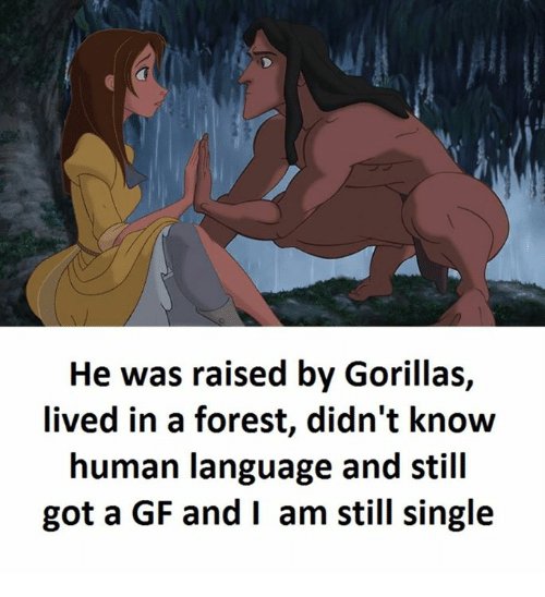 Single, Got, and Human: He was raised by Gorillas,  lived in a forest, didn't know  human language and still  got a GF and I am still single