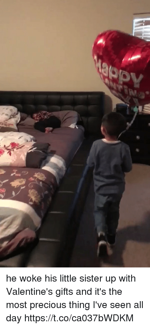 Memes, Precious, and 🤖: he woke his little sister up with Valentine's gifts and it's the most precious thing I've seen all day  https://t.co/ca037bWDKM