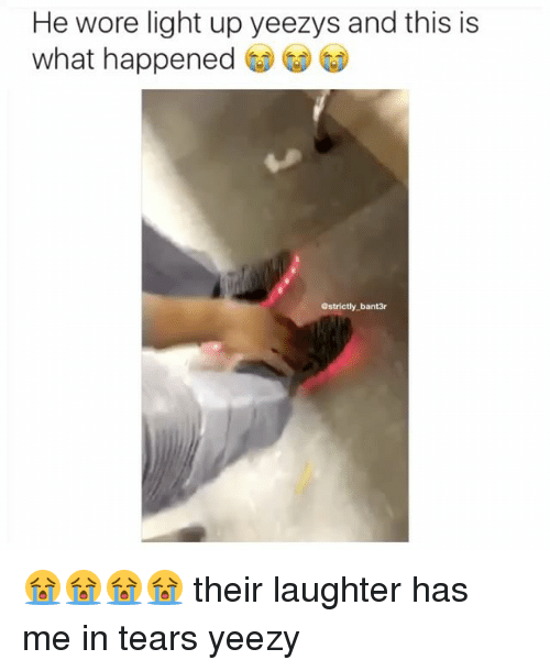 Memes, 🤖, and Yeezys: He wore light up yeezys and this is  what happened  @strictly bant3r 😭😭😭😭 their laughter has me in tears yeezy