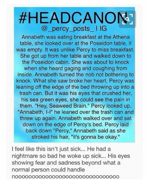 Head canon percy posts l ig annabeth was eating breakfast at the next thecheapjerseys Image collections
