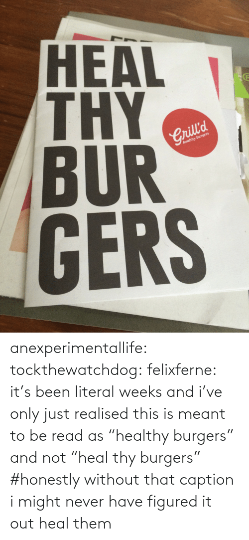 """Tumblr, Blog, and Http: HEAL  BUR  GERS  2  Crill'd  healthy burgers anexperimentallife: tockthewatchdog:  felixferne:  it's been literal weeks and i've only just realised this is meant to be read as """"healthy burgers"""" and not """"heal thy burgers""""  #honestly without that caption i might never have figured it out   heal them"""